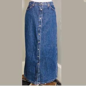 Vintage long denim jean skirt gap size 8 buttons